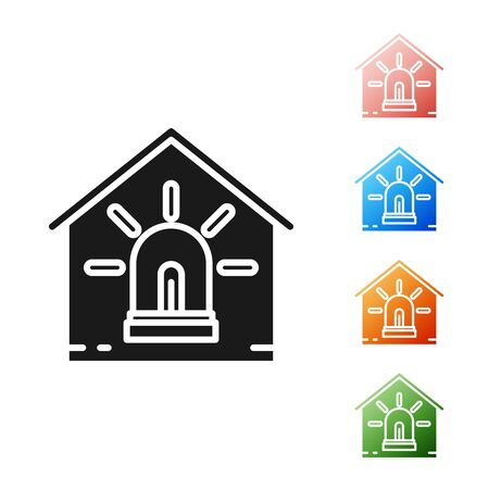 Black Smart house and alarm icon isolated on white background. Security system of smart home. Set icons colorful. Vector Illustration
