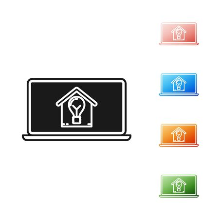 Black Laptop with smart house and light bulb icon isolated on white background. Set icons colorful. Vector Illustration