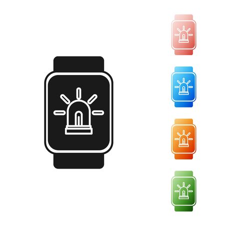 Black Smart watch with smart house and alarm icon isolated on white background. Security system of smart home. Set icons colorful. Vector Illustration