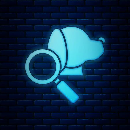 Glowing neon Veterinary clinic symbol icon isolated on brick wall background. Magnifying glass with dog veterinary care. Pet First Aid sign. Vector Illustration