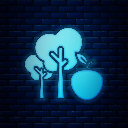 Glowing neon Tree with apple icon isolated on brick wall background. Agricultural plant. Organic farm product. Gardening theme. Vector Illustration