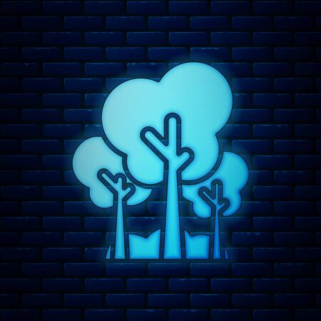 Glowing neon Trees icon isolated on brick wall background. Forest symbol. Vector Illustration