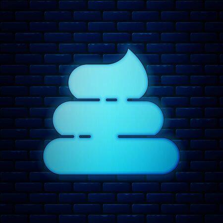 Glowing neon Shit icon isolated on brick wall background. Vector Illustration