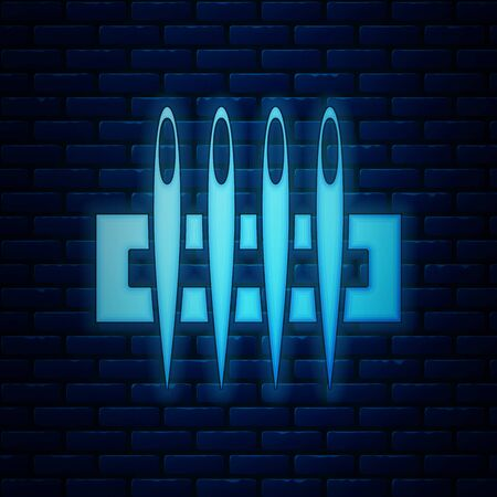 Glowing neon Needle for sewing icon isolated on brick wall background. Tailor symbol. Textile sew up craft sign. Embroidery tool. Vector Illustration 矢量图像