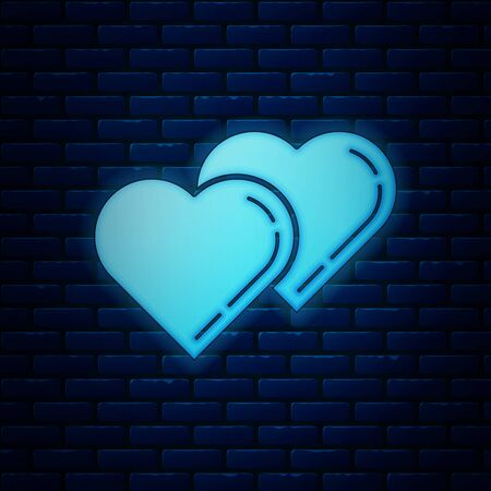 Glowing neon Two Linked Hearts icon isolated on brick wall background. Romantic symbol linked, join, passion and wedding. Valentine day symbol. Vector Illustration Ilustração