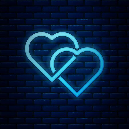Glowing neon Two Linked Hearts icon isolated on brick wall background. Romantic symbol linked, join, passion and wedding. Valentine day symbol. Vector Illustration 일러스트
