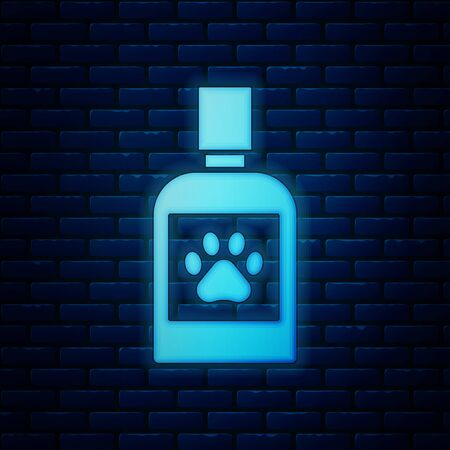 Glowing neon Dog medicine bottle icon isolated on brick wall background. Container with pills. Prescription medicine for animal. Vector Illustration