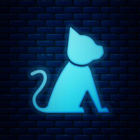 Glowing neon Cat icon isolated on brick wall background. Vector Illustration