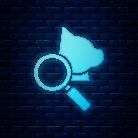 Glowing neon Veterinary clinic symbol icon isolated on brick wall background. Magnifying glass with cat veterinary care. Pet First Aid sign. Vector Illustration
