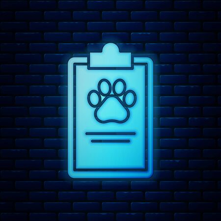 Glowing neon Clipboard with medical clinical record pet icon isolated on brick wall background. Health insurance form. Medical check marks report. Vector Illustration