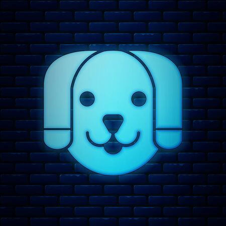 Glowing neon Dog icon isolated on brick wall background. Vector Illustration