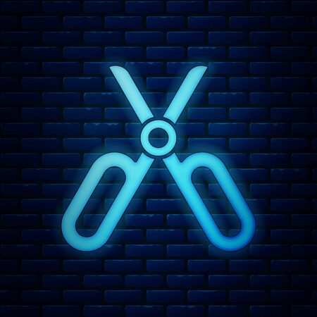 Glowing neon Scissors icon isolated on brick wall background. Tailor symbol. Cutting tool sign. Vector Illustration Illusztráció