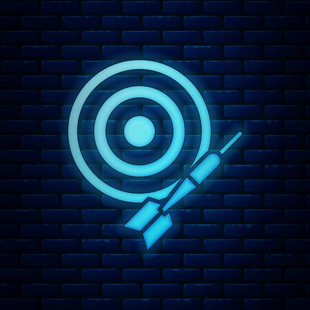 Glowing neon Classic dart board and arrow icon isolated on brick wall background. Dartboard sign. Game concept. Vector Illustration Banco de Imagens - 128744805