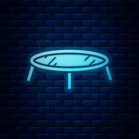 Glowing neon Jumping trampoline icon isolated on brick wall background. Vector Illustration