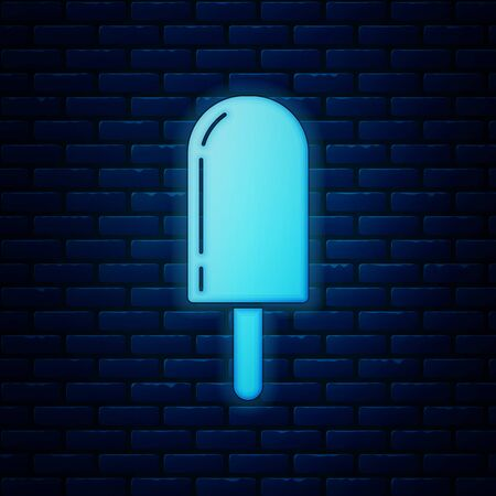 Glowing neon Ice cream icon isolated on brick wall background. Sweet symbol. Vector Illustration 向量圖像