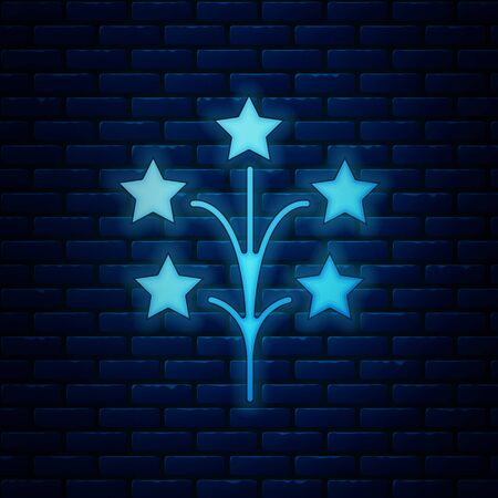 Glowing neon Fireworks icon isolated on brick wall background. Concept of fun party. Explosive pyrotechnic symbol. Vector Illustration