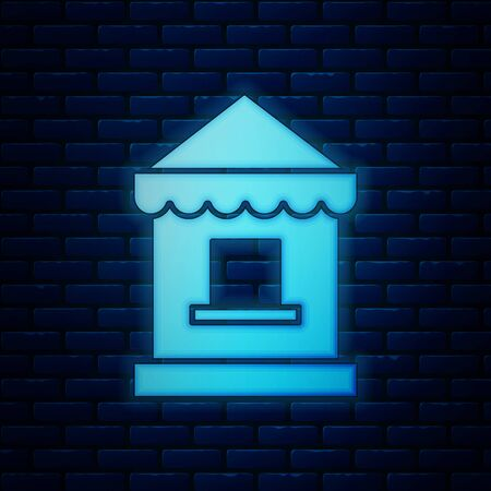 Glowing neon Ticket box office icon isolated on brick wall background. Ticket booth for the sale of tickets for attractions and sports. Vector Illustration