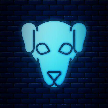 Glowing neon Hunting dog icon isolated on brick wall background. Vector Illustration Ilustração