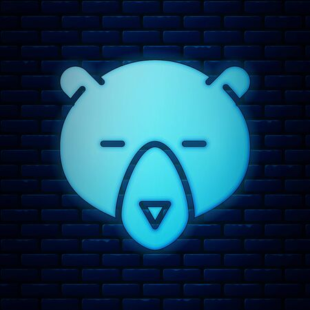 Glowing neon Bear head icon isolated on brick wall background. Vector Illustration
