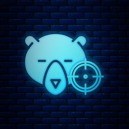 Glowing neon Hunt on bear with crosshairs icon isolated on brick wall background. Hunting club with bear and target. Rifle lens aiming a bear. Vector Illustration