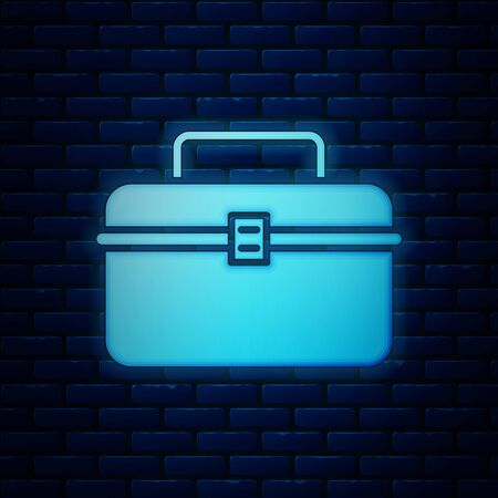 Glowing neon Case or box container for wobbler and gear fishing equipment icon isolated on brick wall background. Fishing tackle. Vector Illustration Illustration
