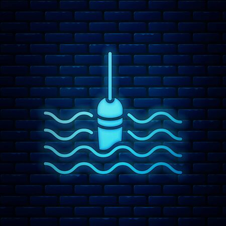 Glowing neon Fishing float in water icon isolated on brick wall background. Fishing tackle. Vector Illustration Ilustração