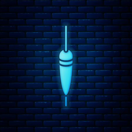 Glowing neon Fishing float icon isolated on brick wall background. Fishing tackle. Vector Illustration