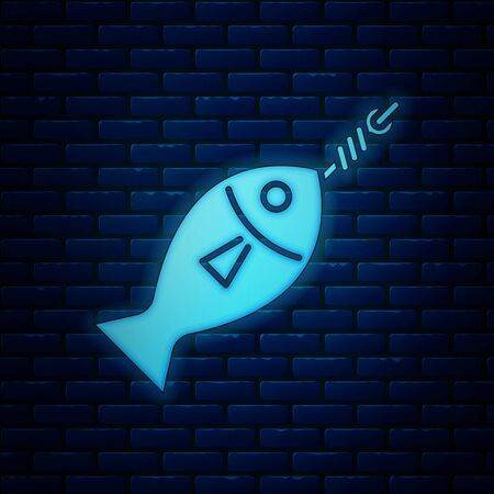 Glowing neon Fish on hook icon isolated on brick wall background. Vector Illustration