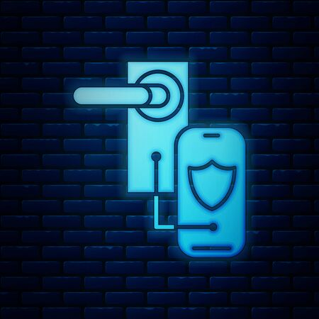 Glowing neon Digital door lock with wireless technology for lock icon isolated on brick wall background. Door handle sign. Security smart home. Vector Illustration