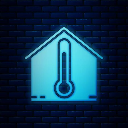 Glowing neon House temperature icon isolated on brick wall background. Thermometer icon. Vector Illustration