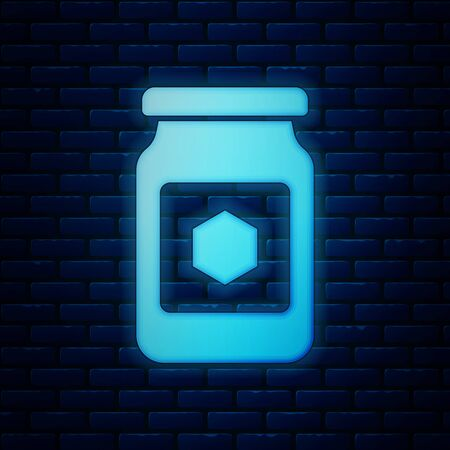 Glowing neon Jar of honey icon isolated on brick wall background. Food bank. Sweet natural food symbol. Vector Illustration