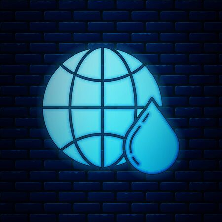 Glowing neon Honeycomb map of the world icon isolated on brick wall background. World bee day. Concept ecological event. Vector Illustration Stock fotó - 128821425
