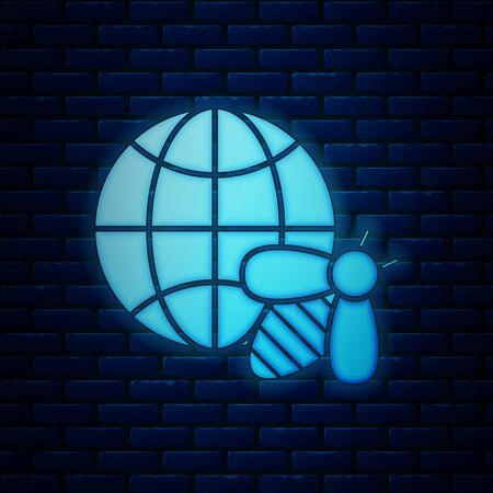 Glowing neon Honeycomb map of the world and bee icon isolated on brick wall background. World bee day. Concept ecological event. Vector Illustration