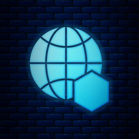 Glowing neon Honeycomb map of the world icon isolated on brick wall background. World bee day. Concept ecological event. Vector Illustration Illusztráció