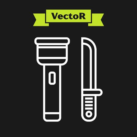 White line Flashlight and knife icon isolated on black background. Vector Illustration