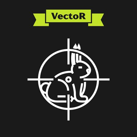 White line Hunt on rabbit with crosshairs icon isolated on black background. Hunting club with rabbit and target. Rifle lens aiming a hare. Vector Illustration