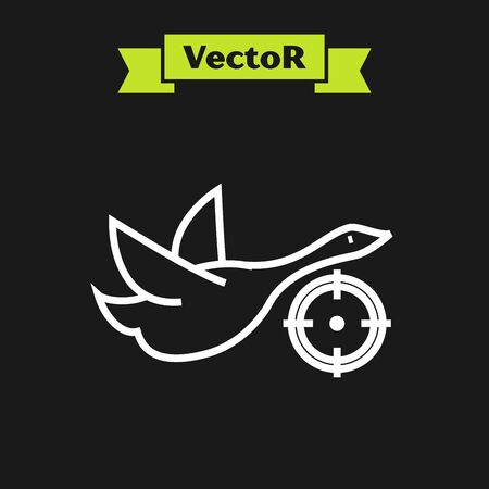 White line Hunt on duck with crosshairs icon isolated on black background. Hunting club with duck and target. Rifle lens aiming a duck. Vector Illustration