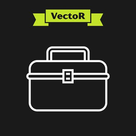 White line Case or box container for wobbler and gear fishing equipment icon isolated on black background. Fishing tackle. Vector Illustration