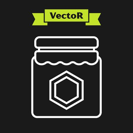 White line Jar of honey icon isolated on black background. Food bank. Sweet natural food symbol. Vector Illustration