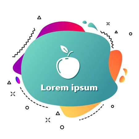 White Apple icon isolated on white background. Fruit with leaf symbol. Abstract banner with liquid shapes. Vector Illustration