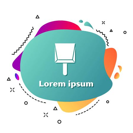 White Dustpan icon isolated on white background. Cleaning scoop services. Abstract banner with liquid shapes. Vector Illustration