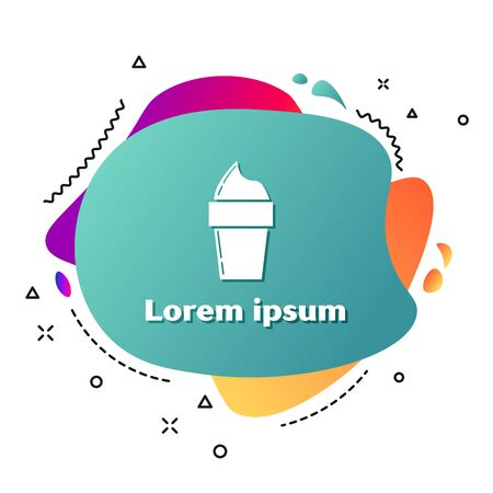 White Ice cream in waffle cone icon isolated on white background. Sweet symbol. Abstract banner with liquid shapes. Vector Illustration