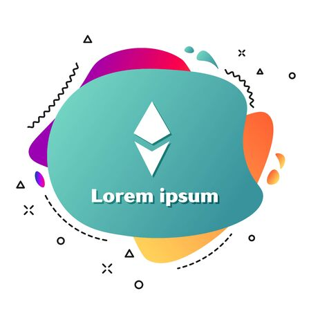 White Cryptocurrency coin Ethereum ETH icon isolated on white background. Altcoin symbol. Blockchain based secure crypto currency. Abstract banner with liquid shapes. Vector Illustration Ilustracja