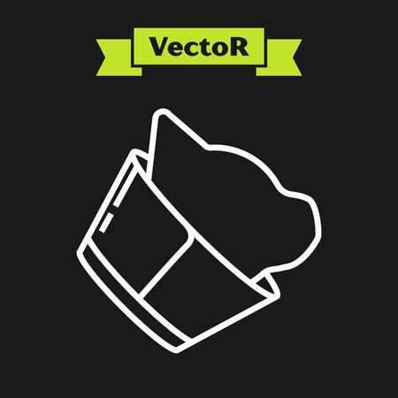 White line Veterinary clinic symbol icon isolated on black background. Cat veterinary care. Pet First Aid sign. Vector Illustration
