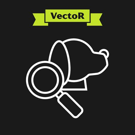 White line Veterinary clinic symbol icon isolated on black background. Magnifying glass with dog veterinary care. Pet First Aid sign. Vector Illustration