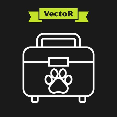 White line Pet first aid kit icon isolated on black background. Dog or cat paw print. Clinic box. Vector Illustration Illustration