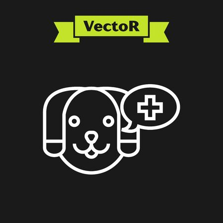 White line Veterinary clinic symbol icon isolated on black background. Cross with dog veterinary care. Pet First Aid sign. Vector Illustration