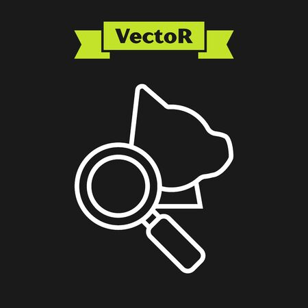 White line Veterinary clinic symbol icon isolated on black background. Magnifying glass with cat veterinary care. Pet First Aid sign. Vector Illustration Illustration