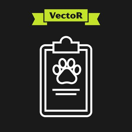White line Clipboard with medical clinical record pet icon isolated on black background. Health insurance form. Medical check marks report. Vector Illustration
