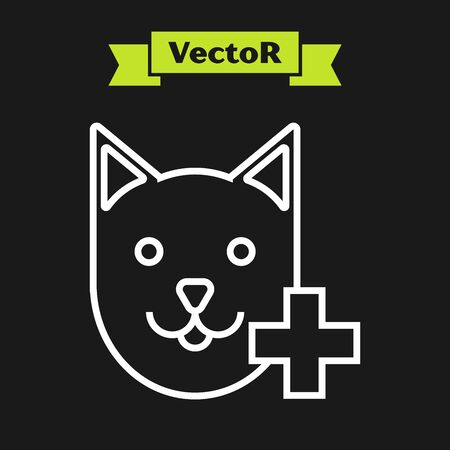 White line Veterinary clinic symbol icon isolated on black background. Cross with cat veterinary care. Pet First Aid sign. Vector Illustration